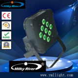 9PCS 9W 3in1 RGB LED 편평한 호리호리한 동위는 배터리 전원을 사용하는 무선 DMX 동위 빛으로 할 수 있다