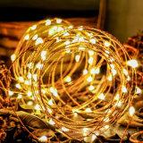 Миниый фейерверк шнура медного провода светильников СИД звёздный освещает теплую белую приведенную в действие батарею отметчика времени -