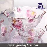 7PCS de kleuren Gegraveerde Reeks van de Kom Set/Glassware van het Glas van Bloemen
