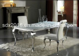 Cadeira de jantar moderna do cromo de veludo preto de Louis e do aço inoxidável