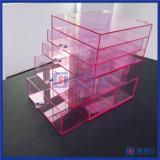 Venta al por mayor color de rosa caliente de acrílico de encargo del organizador del maquillaje