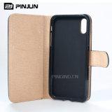 Caixa de madeira do couro do telefone móvel da carteira para o iPhone 8