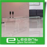 Cancelar mesa de centro de vidro curvada com prateleira geada