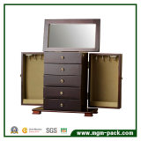 Коробка хранения jewellery черноты типа Tranditional деревянная с 4 ящиками