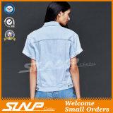 Cappotto del denim delle donne della fabbrica della Cina con il breve manicotto
