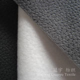 Tissu gravé en relief de cuir de polyester de suède avec le support balayé