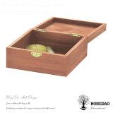 Rectángulo de regalo de madera redondo del almacenaje del embalaje de Hongdao con el _E de encargo de la insignia