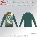 Camisas ajustadas da pesca da venda por atacado do competiam da roupa de Jersey da proteção UV rápida