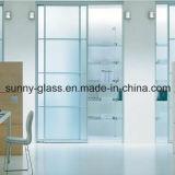 дверь прокатанного стекла 10-15mm, подгонянный вырез размера, прозрачных и замороженного, шарнира и болта
