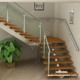 Stainless Steel Handrail를 가진 단단한 Wood Tread Staircase