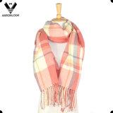 Bufanda vendedora caliente de la raya de la cruz de la manta de la tela escocesa de tartán que hace punto