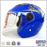 落書きの銀製のスクーターまたはモーターバイクまたはオートバイの開いた表面ヘルメット(OP203)