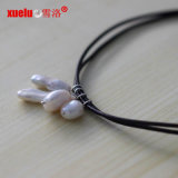 Collar doble del cuero de la cadena de la manera con el colgante barroco de la perla natural 4PCS