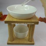 Brûleur en céramique à huile essentielle de bâti en bois (CB-10)