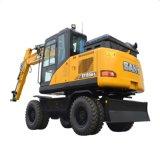 Sany Sy155 15.5 Ton Mini excavadora de ruedas con 0.4m3 Cubo Cubo de la Tierra maquinaria en movimiento