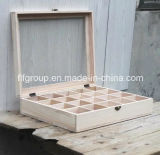 Caja de té de madera de pino sólida ecológica con compartimientos