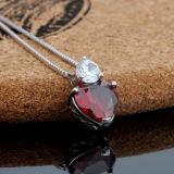 Collana di cristallo rossa Heart-Shaped del pendente del granato dell'argento sterlina delle donne
