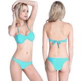 Frauenhalter-Dreieck füllte Bikini-Oberseite-Unterseiten-gesetzten Badebekleidungs-Badeanzug auf