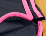 대조 색깔 간결 소매 여자 요가 착용 세트