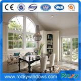 Hölzerne Farbe gewölbte Spitzenaluminiumflügelfenster-Fenstertür