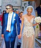 에이라인 Tulle v 목 Champagne 레이스를 가진 두 배 결박 결혼 예복