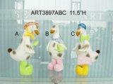 """11.5"""" H pato de pie con la muestra Pascua-decoración Pala / Pot /"""