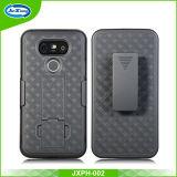 Cassa del telefono delle cellule per il LG G6 con il nero duro di colore del coperchio di Kickstand del supporto della clip della cinghia