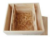 6-Garrafa de madeira de pinho Armazenamento de vinho embalagem caixa de presente