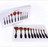 щетки косметик состава комплекта щетки состава верхнего синтетического золота Rose волос 10PCS овальные