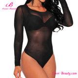Black Translucent High Neck Babydoll Sous-vêtements Vêtements de nuit Sexy Lingerie