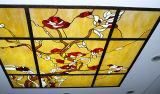 O vidro manchado dos estilos ornamentado exteriores da caraterística da decoração apainela o teto