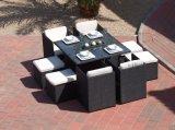 Сад кубика ротанга Гаити обедая комплект