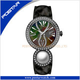 Het Horloge van het Roestvrij staal van het Kwarts van de Dames van de Parel van de manier met de Wijzerplaat van de Zwabber