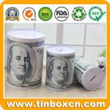 동전 은행 포장을%s 둥근 금속 주석 돈 상자