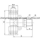 Te apropiada de la ramificación del aire neumático para el manguito de PU&PA (tipo métrico de la cuerda de rosca de la Talla-r (pinta))