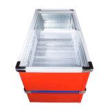 1161L porta deslizante profunda armário ilha congelador com inoxidável canto
