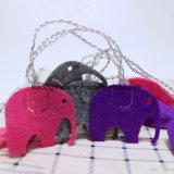 quirlande électrique étoilée à piles de 10 blancs DEL de 3V aa avec la forme d'éléphant d'art de tissu