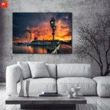 Pintura al óleo de la puesta del sol en lona con el marco