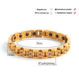 Bracelete dourado da forma a mais nova do projeto com as pedras magnéticas da saúde