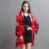 Women Fashion Checked Acrílico Cashmere Knitted Winter Fringed Shawl (YKY2070)