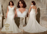 Appliques 2017 шнурка Венеци на мягкой сети плюс платье венчания размера Bridal