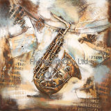Ретро картина металла 3 d для человека играя саксофон