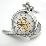 Reloj de bolsillo de plata para hombre de la calidad con la cadena