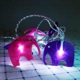 3V AA batteriebetriebenes sternenklares feenhaftes Licht 10 Weiß-LED mit Tuch-Kunst-Elefant-Form