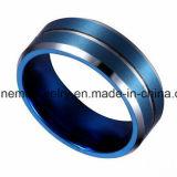 Joyería Shineme anillo del tungsteno hombre azul plateada