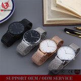 Klassische Unisex-Firmenzeichen-Ineinander greifen-Band-Schweizer-Uhr Soem-Vs-501, von Mailand Schleifen-Brücke-Uhr von den Guangzhou-Uhr-Lieferanten