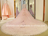 2017 vestidos nupciais cor-de-rosa 3/4 de vestido de casamento completo Lb285 das luvas