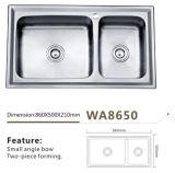 Dissipador Wa8650 da soldadura da bacia do dobro da cozinha do aço inoxidável