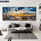 Im Stadtzentrum gelegener Skyline-Segeltuch-Kunst-Druck von den Fotos