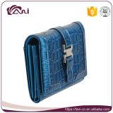 Carpetas de lujo de la mujer de la manera en el color azul, alta calidad del monedero del cuero genuino del cocodrilo
